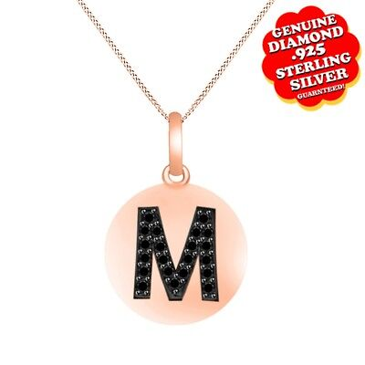 """1/8 Ct Black Natural Diamond 14K Rose Gold Over Initial """"M"""" Pendant w/ 18"""" Chain"""