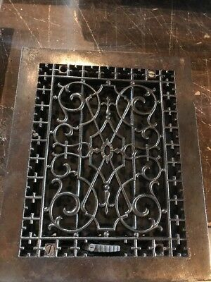 Br 40 Antique Cast-Iron Floor Or Wall Mount Heat Grate 9.75 x 11.75