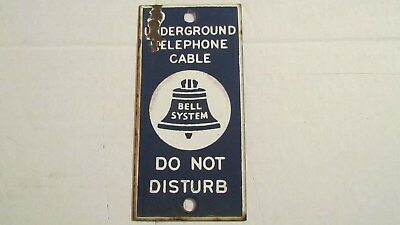 "Vintage Bell System Underground Cable DO NOT DISTURB Porcelain Sign 7"" X 3 1/2"""