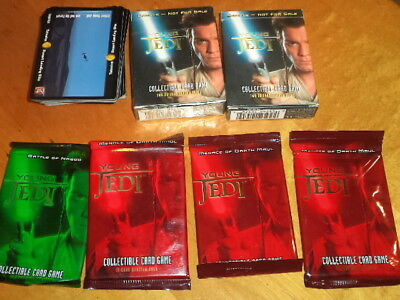 Star Wars: Young Jedi CCG 4 Booster Packs & Cards Menace of Darth Maul Naboo Lot