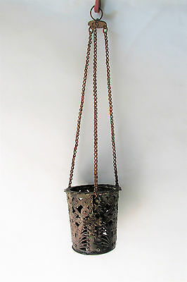 Ancient Antique Hanging bronze Orthodox Lamp Byzantine with chain and cross