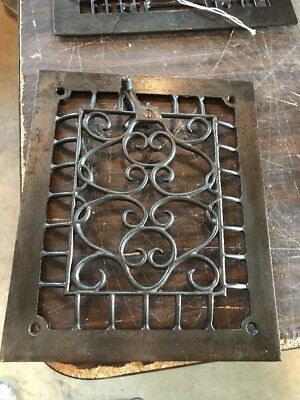 Br 49 antique cast-iron heating grate face wall mount swirly 9.75 x 11.75