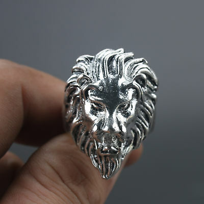 Chinese Exquisite Tibet Silver Hand Carved Lion head Handwork Ring Z369