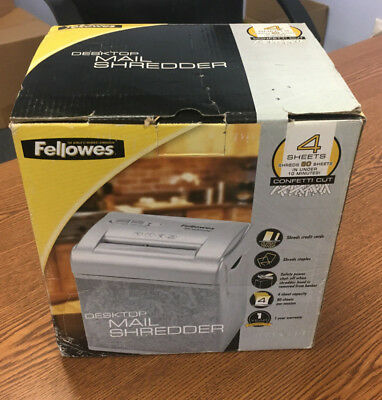 Fellowes 4 Sheet Folded Cross Cut Desktop Shredder  / Mesh Basket - New in Box