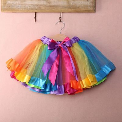Baby Toddler Girl Ballet For Party Dance Rainbow Tulle Tutu Skirts Pretty U.S.A