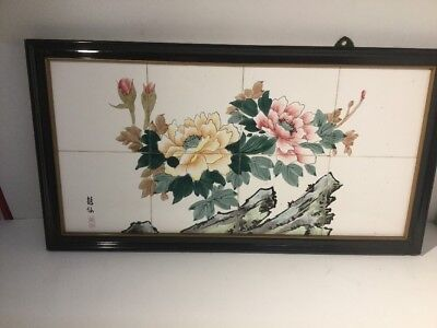 Vintage Signed 1960s Japanese Tiles In Wooden Frame - Hand Painted, Unusual