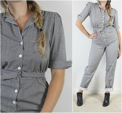 Vintage 80s Pinstriped Button front Jumpsuit Playsuit Overalls Puffed Shoulder