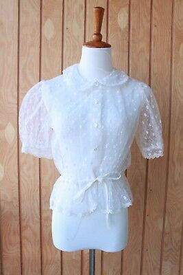 Antique Vintage 30s 40s 50s Sheer Adjustable Waist Peter Pan Collar Puffy Lace