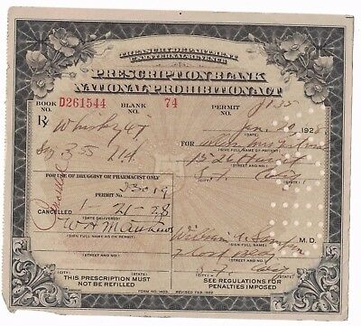 National Prohibition Prescription Blank Whiskey 1928 California Medical Antique