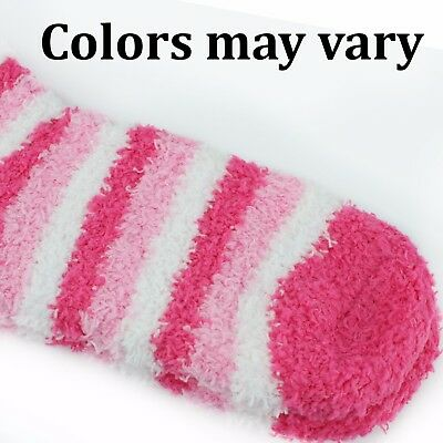 Kids Fuzzy Socks 6 Pack - Fits Ages 8-12 Colorful Striped Colors May Vary