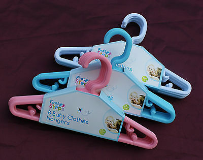 New Baby Toddler Clothes Plastic Slim Hangers Nursery Wardrobe Pink Blue White