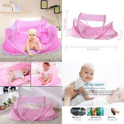 Safe, Portable & Soft Baby Travel Bed with Mattress, Pillow & Mosquito Net,Pink