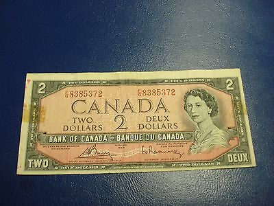 1954 - Bank of Canada $2 note - two dollar bill - FG8385372