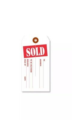 """1000 Large """"SOLD"""" Tags - Red and White - Heavy Duty Paper Stock 4 3/4"""" x 2 3/8"""""""