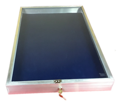 Aluminum Display Case End Opening 22 x34 x 31/4 Knives Cards Gun with BLUE LINER