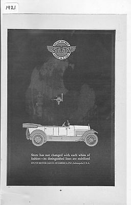 1921  Stutz Convertible  Automobile Magazine  Ad  Advertisement Indianapolis, IN