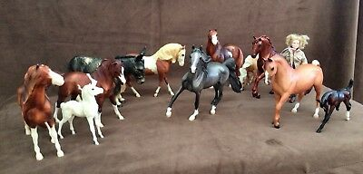 Breyer Horse Lot of 12 Horses, 1 Animal, 1 Person, 3 Halters