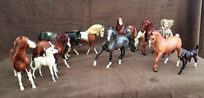 Breyer Horse Lot of 12 Horses, 1 Person, 3 Halters