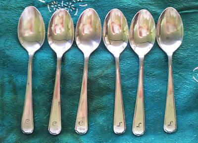 Teaspoons (6) EPNS, with engraved initials C and L on 3 spoons each, vintage