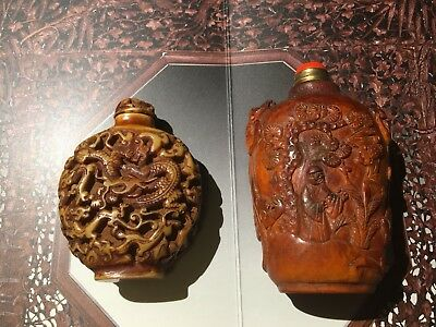 18th C Chinese Antique Hand Carved Horn Snuff Bottle And Another
