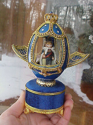 REAL Decorated Carved Goose Egg Christmas Nutcracker Music Box Collectible