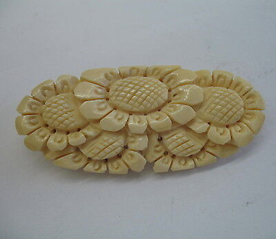 Vintage Art Deco carved cow bone flower pin c1920s-30s