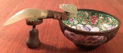 Antique Chinese Qing Wine Cup- Hand Painted Porcelain W Jade Belt Hook Handle