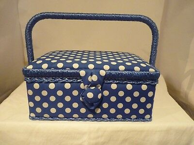 Small Craft Padded  Blue Polka Dots Sewing Box New With Compartment Box