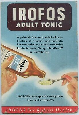 1950's Advertising Shop Show Card Irofos Adult Tonic Sold Sa Chemist Shops X85.
