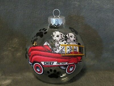"Hand Made Dalmatian Fire House Firefighter Dog 4"" Glass Christmas Ornament/ball"