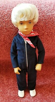 "16"" Sasha Gregor Blonde Boy Doll England Wrist Tag in Cute Blue Corduroy Jumper"