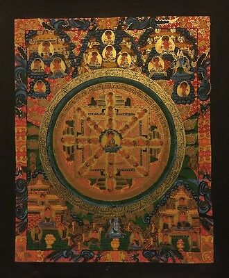 Rare Original Tibetan Chinese HandPainted Signed Mandala Gold thangka Painting a