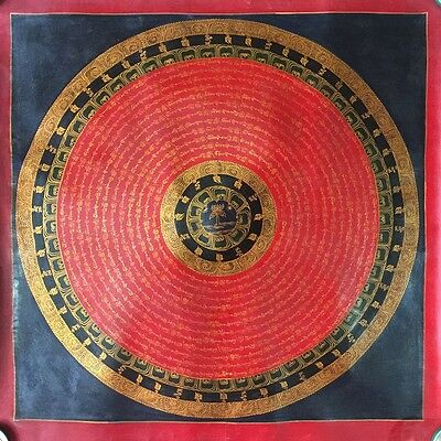 Rare Original Tibetan Chinese HandPainted Signed Mandala Thangka oil Painting