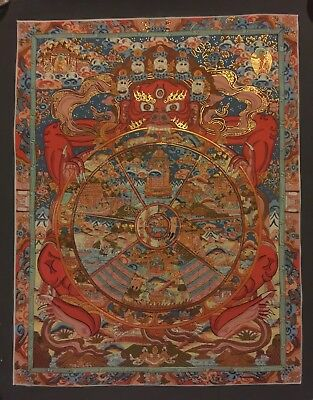 Original Tibetan Chinese Hand Painted Signed Buddha Mandala Painting thangka 008