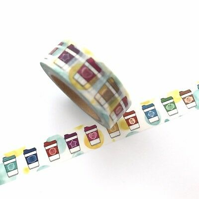 Washi Tape Coffee Cup Multi Coloured Latte Frappe 15mm x 10m
