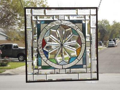 "MANDELLA""Beveled Stained Glass Window Panel ≈22 ½"" x 22 ½""(57 cm)"