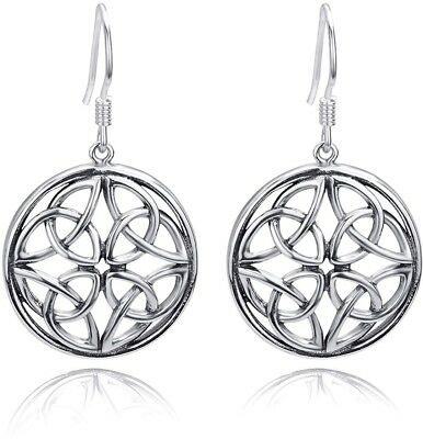 Ancient 925 Sterling Silver Celtic Knot Round Drop Wire Earrings For Women NEW