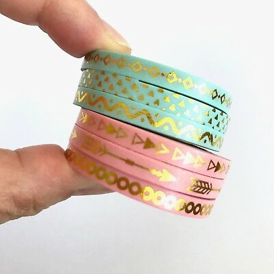 Slim Washi Tape Set Pink or Green Thin 3mm x 10m