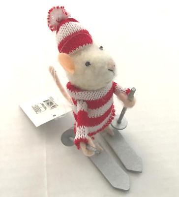 Boutique Winter MOUSE Chester Skiing Skier Sweater Christmas Ornament NWT New