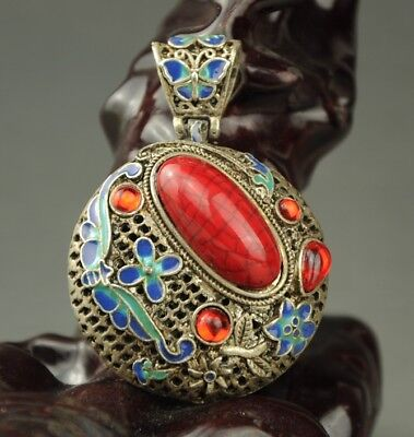 chinese old cloisonne Miao silver inlay natural red zircon handwork pendant