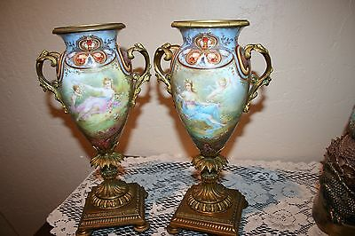 Stunningly Beautiful Vintage Pair Collot Signed French Porcelain Champleve Urns