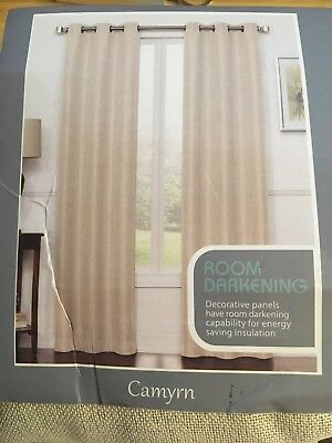 Camryn 108 Inch Room Darkening Grommet Top Window Curtain Panel Pair In Beige