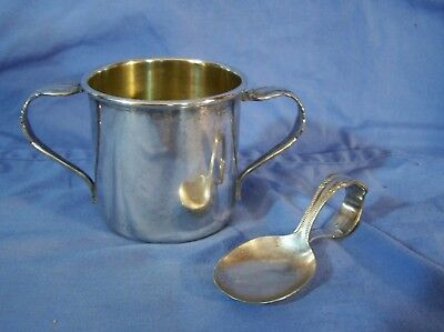 Antique Silverplate Baby Cup & Antique Ornate Spoon HOLMES & TUTTLE c1850s
