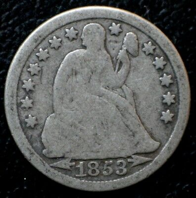 1853 Seated Liberty Dime 10C Silver Coin