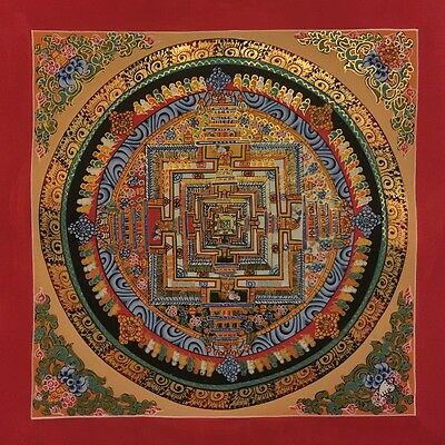 Original Tibetan Chinese Hand Painted Signed Mandala Gold Painting thangka 26