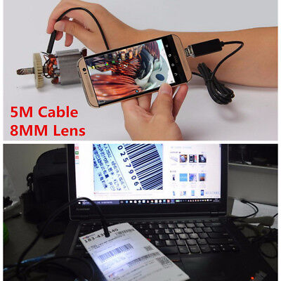 8MM Lens LED Car Engine Inspection Camera 5M Dual USB Cable Andriod Laptop IP67