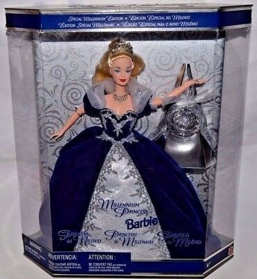 New-2000 Holiday Barbie Doll-Special Millennium Princess-New Years Ball Ornament