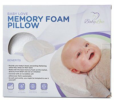 Baby Head Shaping Memory Foam Pillow & Bamboo Pillowcase. KEEP an Infant's head