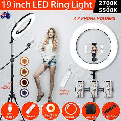 "19"" 5500K Dimmable Diva LED Ring Light SMD Diffuser Mirror Stand Make Up Studio"