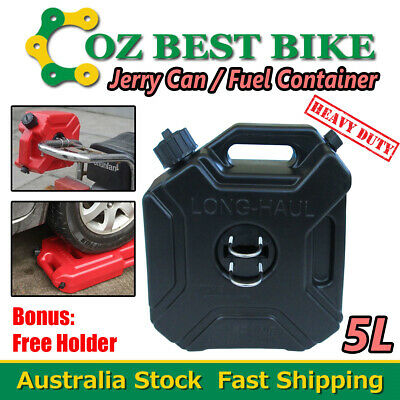 5L Jerry Can Fuel Container With Free Holder Black Spare Petrol Container Heavy